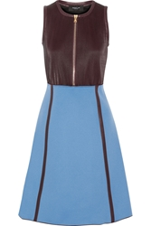 Derek Lam Pleated Leather And Wool Blend Dress