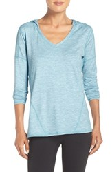 Zella Women's 'To And Fro' Hooded Pullover Tee Teal Algiers