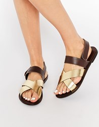 Park Lane Cross Strap Sling Leather Flat Sandals Gold