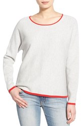 Women's Velvet By Graham And Spencer Compact Stitch Cotton And Wool Pullover Ash Gray