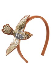Red Valentino Leather Sequin Swallow Headband Camel