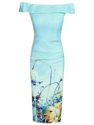 Jolie Moi Pattern Bardot Neck Dress Blue
