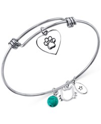 Unwritten Cat Charm And Manufactured Turquoise 8Mm Bracelet In Stainless Steel
