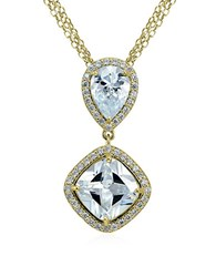 Lord And Taylor Cz Sterling Silver Double Drop Pendant Necklace Gold