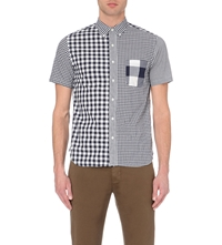 Beams Plus Short Sleeved Checked Cotton Shirt Navy