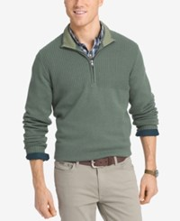 Izod Men's Dual Texture Quarter Zip Sweater Duck Green