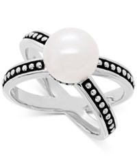 Honora Style Cultured Freshwater Pearl 9 1 2Mm Beaded Crisscross Statement Ring In Sterling Silver White