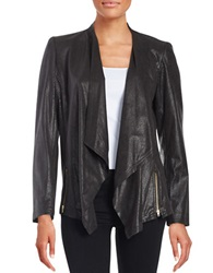 Tahari Arthur S. Levine Faux Leather Flyaway Coat Black