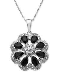 Macy's Sterling Silver Pendant Onyx And Diamond Accent Flower