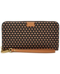 Fossil Emma Printed Rfid Large Zip Clutch Wallet Black Multi