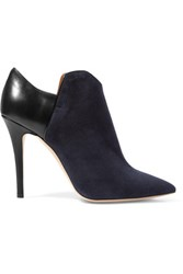 Malone Souliers Frances Paneled Suede And Leather Boots Midnight Blue