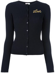 Red Valentino Patch Detail Ribbed Cardigan Blue