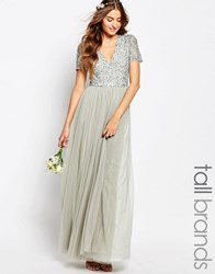 Maya Tall V Neck Maxi Tulle Dress With Tonal Delicate Sequins Sage Green