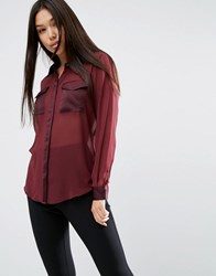 Asos Sheer Blouse With Satin Pockets Oxblood Red