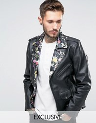 Reclaimed Vintage Leather Biker Jacket With Floral Collar Black