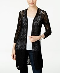 Jm Collection Petite Open Front Crochet Cardigan Only At Macy's Deep Black