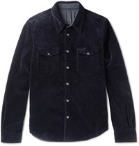 Aspesi Apei Lim Fit Reverible Cotton Corduroy And Hell Jacket Navy