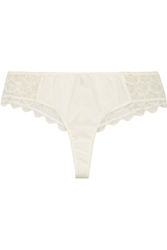 Madame Aime Galleria Tanga Lace And Stretch Silk Thong