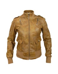Forzieri Signature Women's Brown Paisley Stamped Genuine Leather Jacket