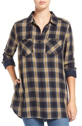 Women's Bp. Plaid Popover Tunic Navy Night River Plaid
