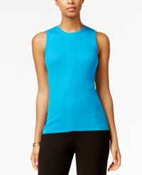 Tommy Hilfiger Ribbed Knit Tank Top Peacock