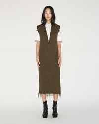 Maison Martin Margiela Felted V Neck Dress Olive