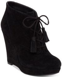Jessica Simpson Cyntia Lace Up Wedge Booties Women's Shoes Black