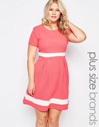 Praslin Plus Size Skater Dress With Contrast Band Coral Pink