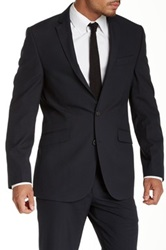 Kenneth Cole Navy Pinstripe Two Button Component Jacket Blue