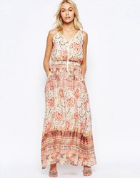 See U Soon Zip Front Maxi Dress In Washed Out Print Red