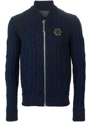 Philipp Plein 'Extra Special' Cable Knit Bomber Jacket Blue