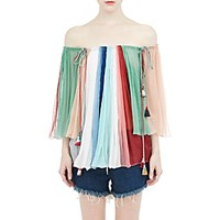 Chloe Women's Plisse Chiffon Convertible Blouse No Color