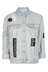 Topshop Moto Black And White Badge Jacket Bleach Stone