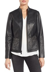 Elie Tahari Women's Laser Cut Leather Jacket Black