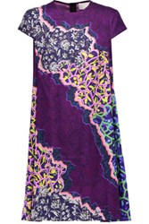 Peter Pilotto Tee Printed Stretch Silk Mini Dress Purple