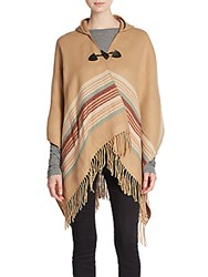 Saks Fifth Avenue Black Striped Hooded Toggle Poncho Copper
