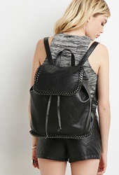 Forever 21 Faux Leather Chained Backpack Black