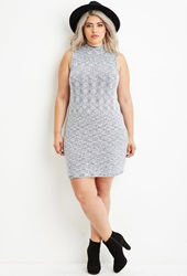 Forever 21 Plus Size Marled Knit Sweater Dress Navy Cream