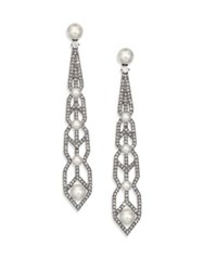 Adriana Orsini Crystal And Faux Pearl Drop Earrings Silver