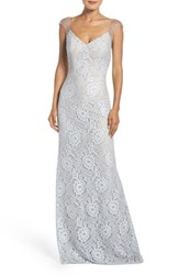 La Femme Women's Beaded Lace Gown