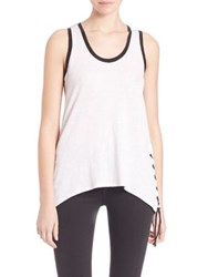 Red Haute Side Lace Up Tank Top Black White