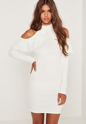 Missguided Frill Cold Shoulder Long Sleeve Dress White White