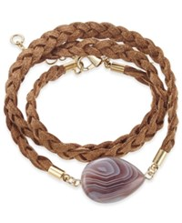 Inc International Concepts Gold Tone Semi Precious Stone Braided Wrap Bracelet Only At Macy's Brown Agate