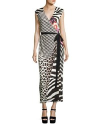Marc Jacobs Mixed Media Sleeveless Jersey Wrap Dress Black