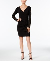 Calvin Klein Petite Ruched Lace Sleeve Sheath Dress Black