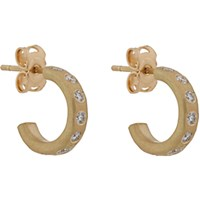 Malcolm Betts Women's Diamond And Hammered Gold Hoops Gold