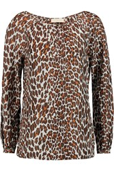 Tory Burch Lisa Leopard Print Silk Blouse Animal Print