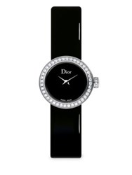 Christian Dior D De Diamond Stainless Steel And Patent Leather Strap Watch
