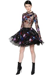 Zuhair Murad Floral Embellished Swiss Dot Tulle Dress