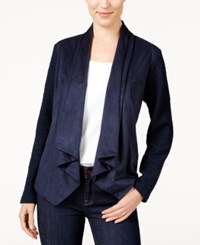 Styleandco. Style Co. Petite Mixed Media Draped Front Blazer Only At Macy's Industrial Blue